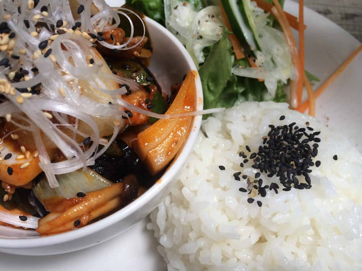ナスと豚肉の辛味噌炒めのプレート