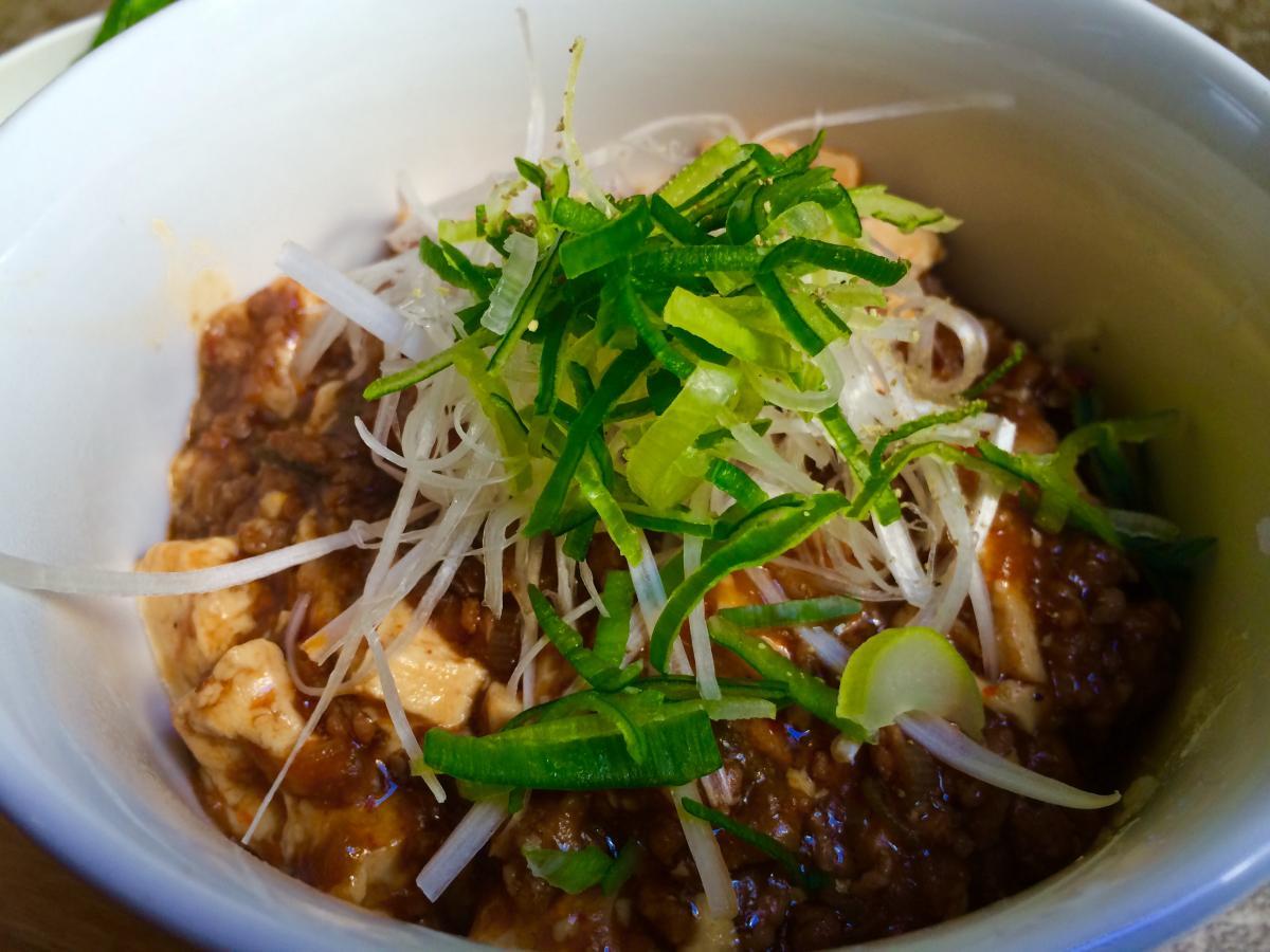 山椒と葱のマーボー豆腐のプレート