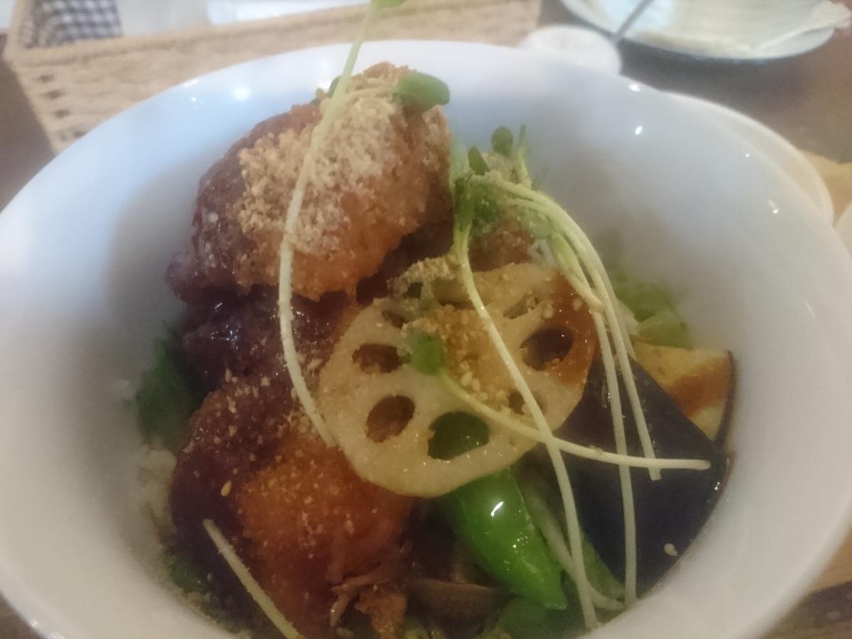 鶏もも肉と野菜のソースカツ丼 48 -1