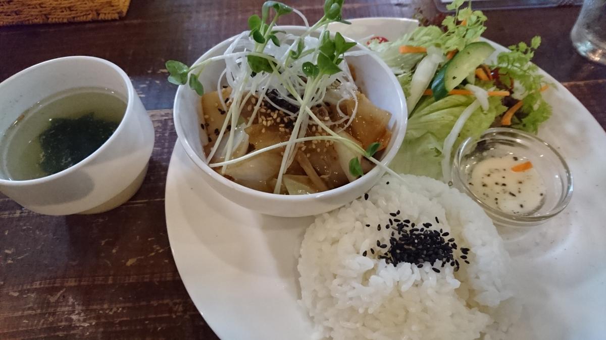 豚肉と野菜の生姜焼きのプレート 64 -1