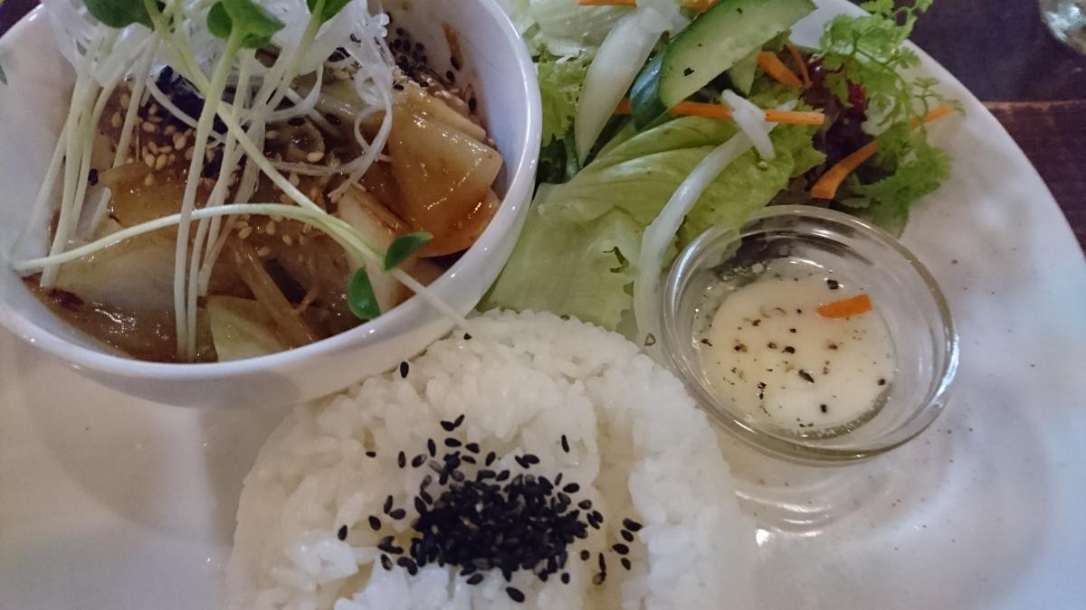 豚肉と野菜の生姜焼きのプレート 64 -3