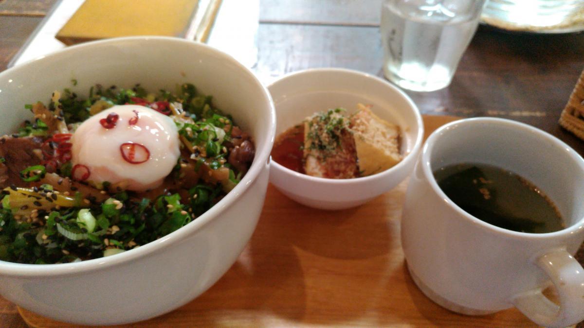 根菜と葱の温玉牛丼 78 -2
