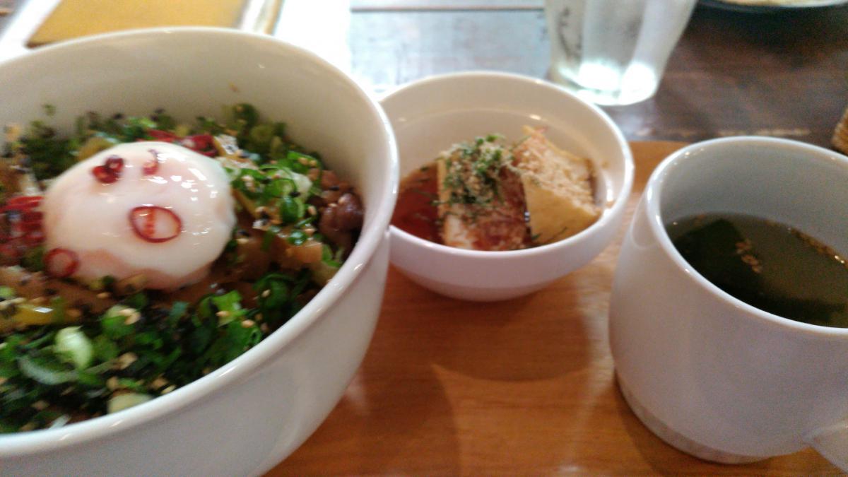 根菜と葱の温玉牛丼 78 -3